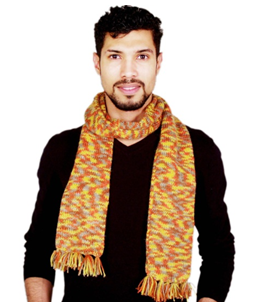 Stylish Andknitted Muffler With Fringes