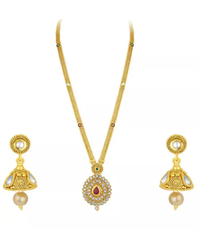 Sukkhi Bronze, gold plated set of earrings and necklaces @ Rs 1799