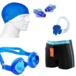 Solutions24x7 BEST QUALITY Swimming costume nose ear plug googles cap combo Swimming Kit on flipkart at just Rs 345