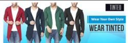 Tinted Men's Cotton Sinker Hooded Full Sleeve Cardigan