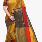 gorgeous Blissta Mustard Yellow Solid Saree with Blouse Piece worth Rs. 2997 available only for Rs. 1199 only
