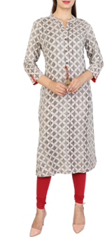Beige Cotton Straight Kurta at a throwaway price of Rs. 722.