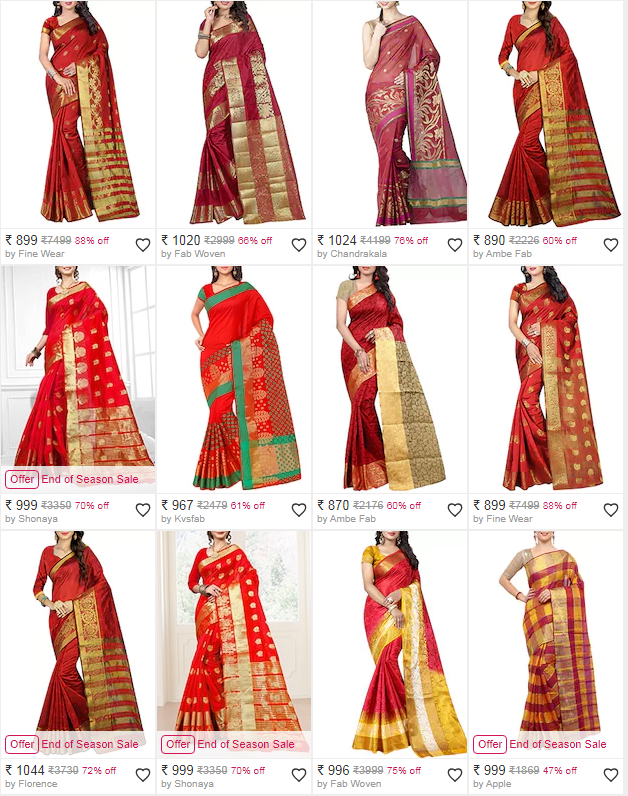 Get a 45% discount on wonderful sarees