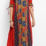 Red Rayon A-Line Kurta being offered at a throwaway price of Rs. 1499