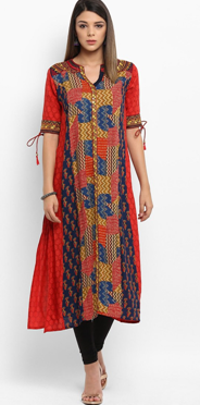 Red Rayon A-Line Kurta, originally priced at Rs. 2499 is being offered at a throwaway price of Rs. 1499