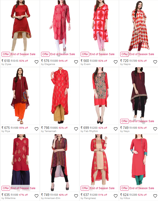 Save 50% on gorgeous kurtis for women