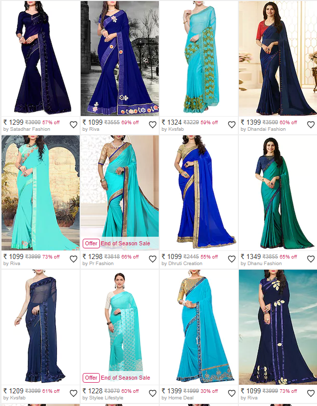 georgette printed saree from limeroad upto 70% off