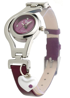 Dk Heart Pearl Dangle Silver Case Purpal Leather Strap Analogue Purple Dial Wrist Watch For Girls - Womens (Dk1207)